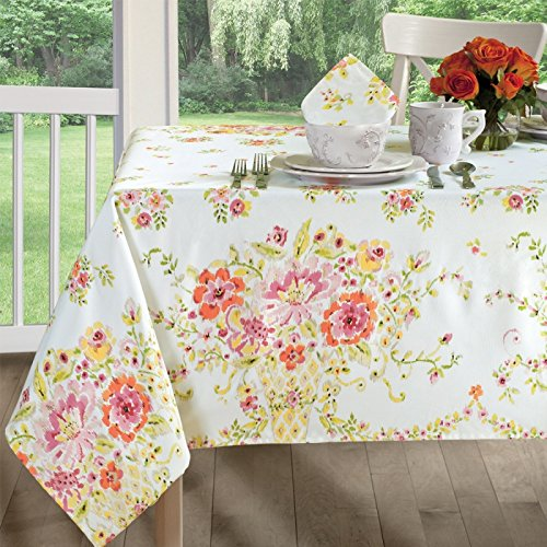 - Dena Home dh-a102 Ikat Floral Athena 102 x 60 Tablecloth, Spills Bead Up Summer Spring Easter