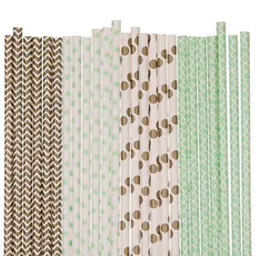 Gold and Mint Green Paper Straw Mix - Polka Dot, Damask, Chevron (25) ()