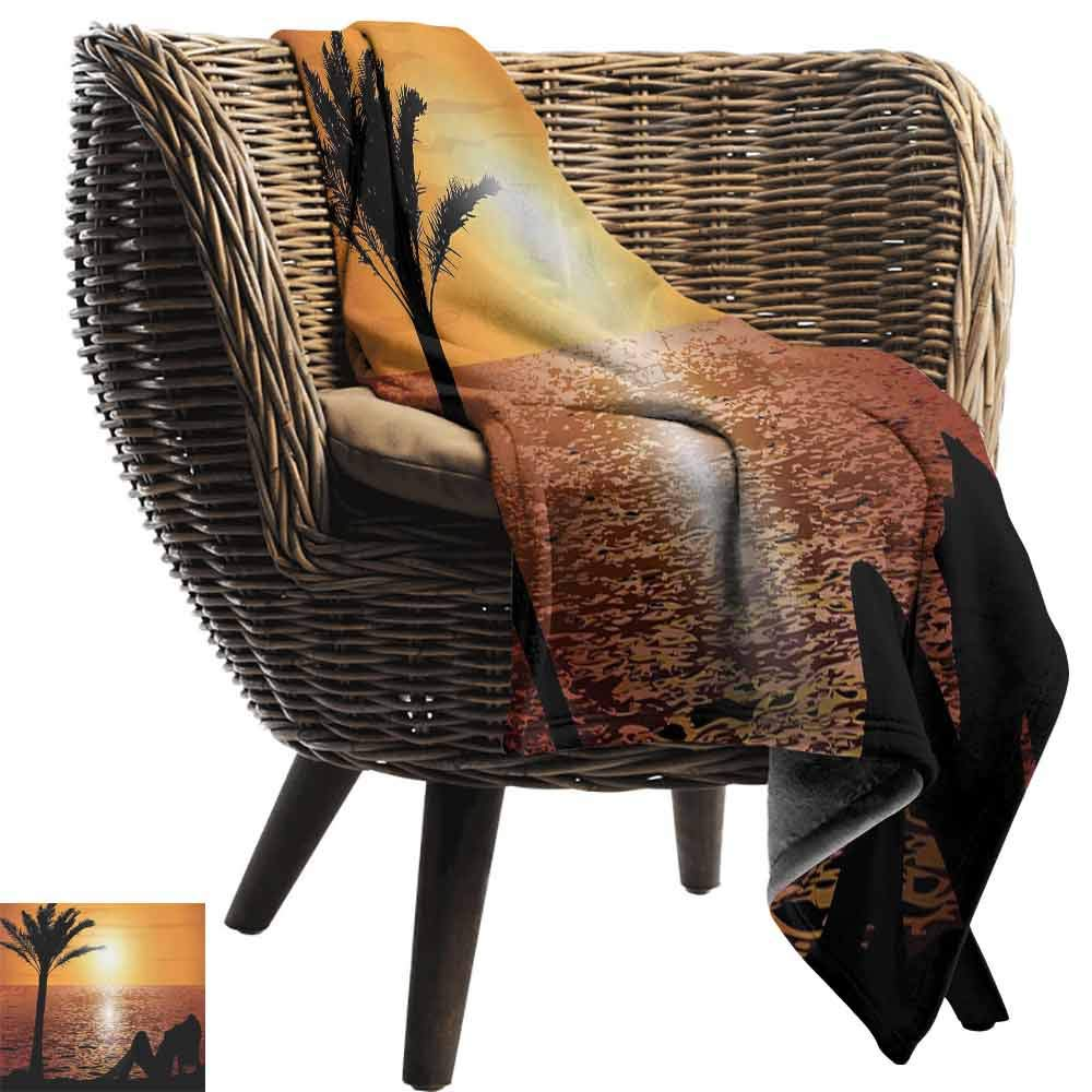 vanfan-home Girls Throws,Silhouette of Lady and Palm Tree on Tropical Beach at Sunset Horizon Scenery Print Comfortable and Warm Beach Blanket for Couch Bed Living Room (90''x70'')-Black Orange