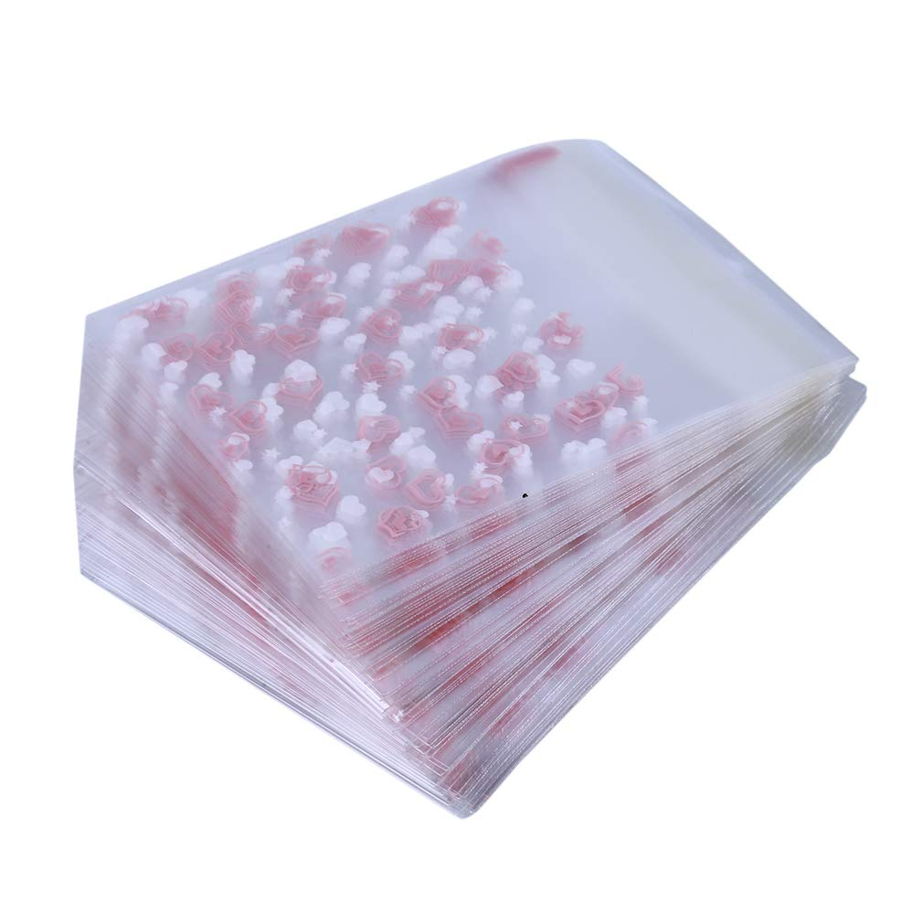 Meoliny 100 Pieces Pink Love Heart Self Adhesive Cookie Bags Candy Bags Party Favor Bags Treat Bags DIY Plastic Bag