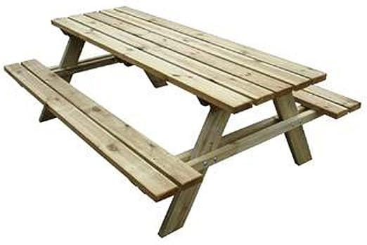 Panche E Tavoli Legno.Tavolo Con Panche Da Pic Nic In Legno Cm 200x148x70 H Amazon It Giardino E Giardinaggio