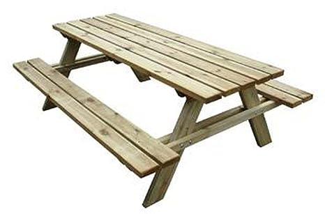 Tavoli Da Esterno Per Pub : Tavolo con panche da pic nic in legno cm 200x148x70 h: amazon.it