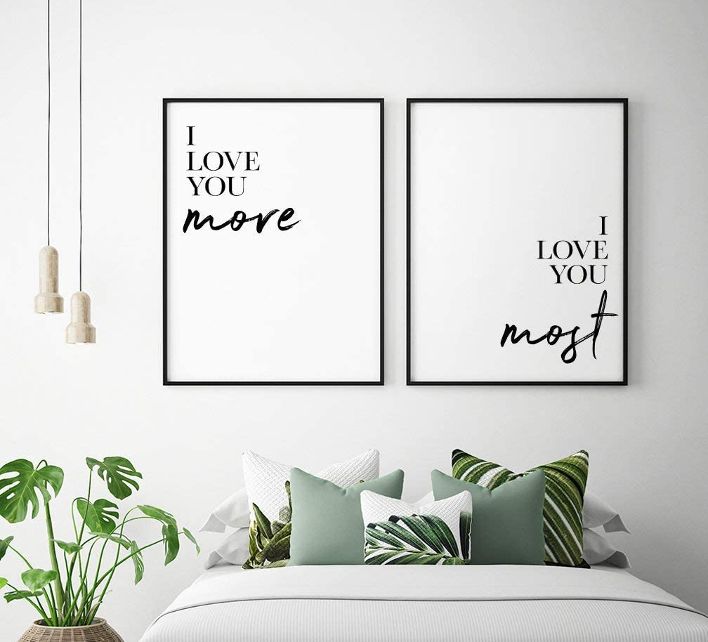 Amazon Com Framed Sign I Love You More I Love You Most Set Of 2 Couple Quote Prints Romantic Wall Art Couple Bedroom Prints Bedroom Decor Posters Prints