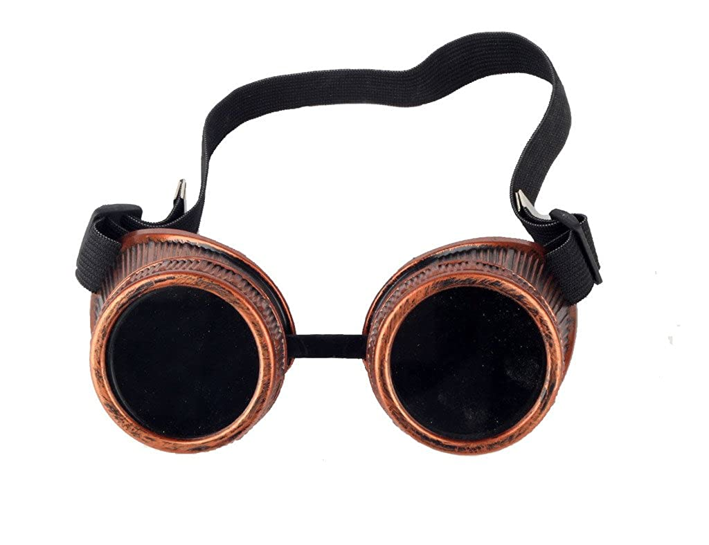 DODOING Unisex Steampunk Antique Copper Cyber Goggles Glasses Rave Goth Vintage Brille