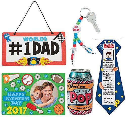 父の日DIYクラフトキット; 11Dadライセンスプレートサイン、画像フレームマグネット付1All about My Dad Tieクラフト、1` Best Pop ` Color Your Own Canクーラー、ビーズ# 1Dadツールキーチェーンキット| Boy Girlsの商品画像