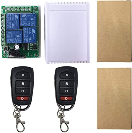 2 Relay Wireless Remote Control Switch+2pcs Two Keys Remote Controls ETY