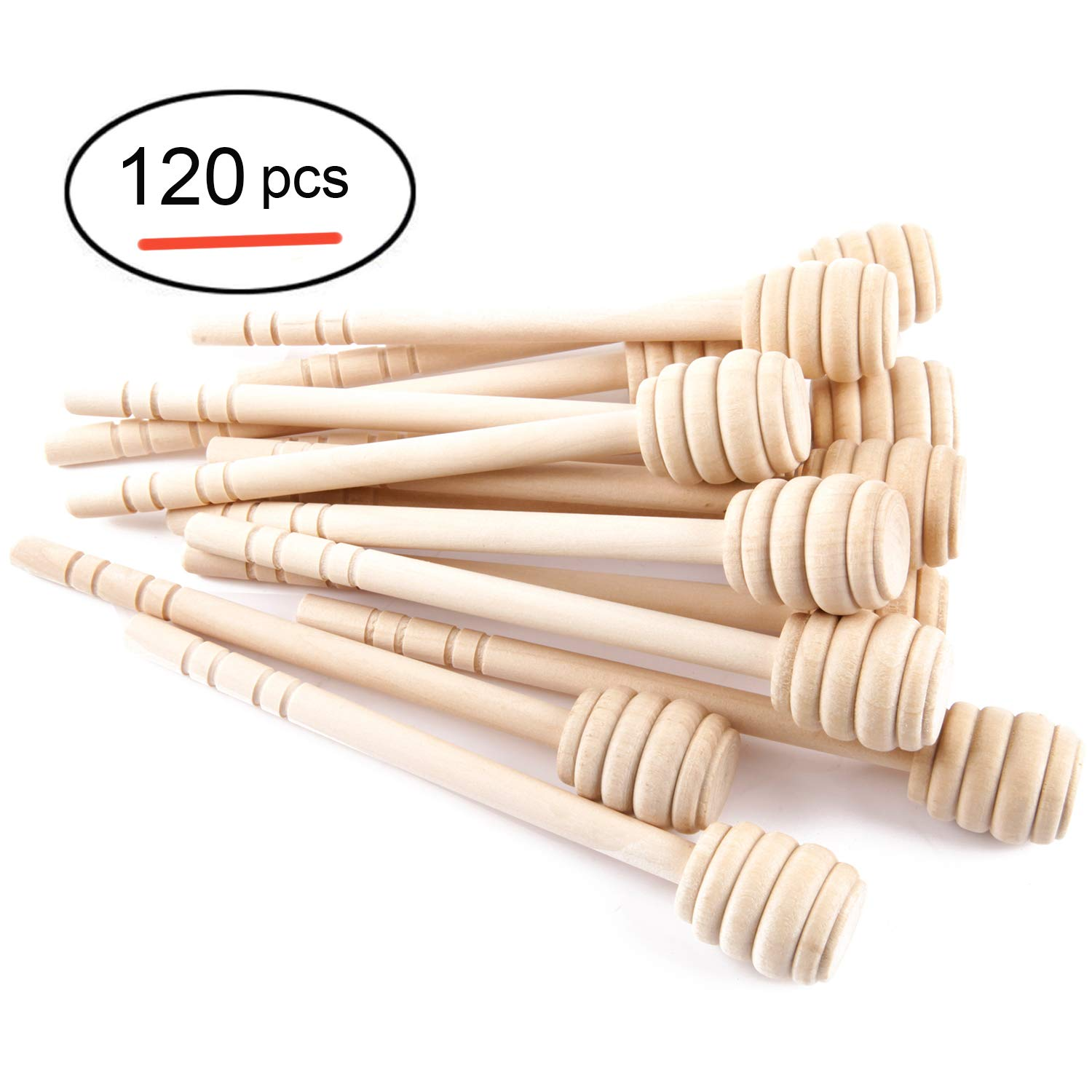 Artcome 120-Piece 6 Inch Wood Honey Dipper Sticks, with Ribbon for Honey Jam Jar Dispense, Mini Individually Wrapped, Wedding Party Favors