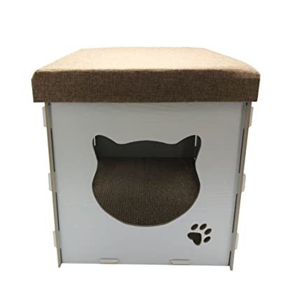 GXu0026XD Storage Ottoman Stool Cat Litter Stool House Storage Box Removable  Collapsible Woody