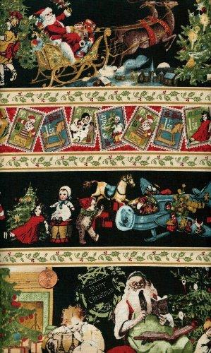 Santa Christmas Fabric ('Christmas Emporium' Repeating Stripes with Santas on Cotton Fabric By the Yard)