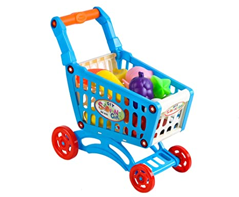 ISO TRADE Carro de Compras Infantil Carro Mini Carro de Compras para Niños Accesorios Infantiles Set