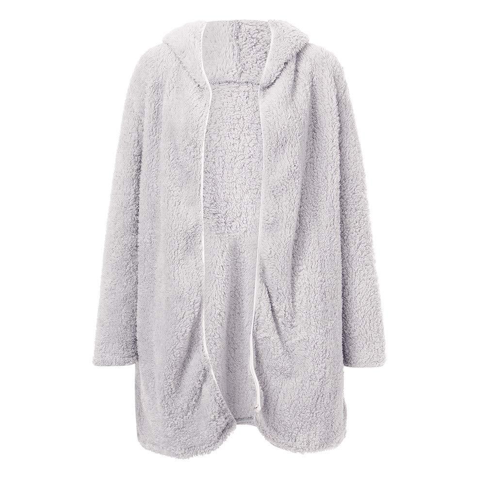 Women Coat Casual Lapel Fleece Fuzzy Faux Shearling Zipper Warm Winter Jackets CieKen
