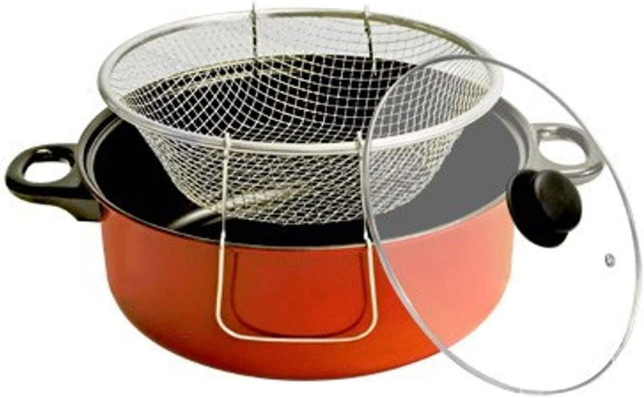 3 Piece Deep Fryer Set with Dutch Oven Stainless Steel Fry Basket & Glass Lid