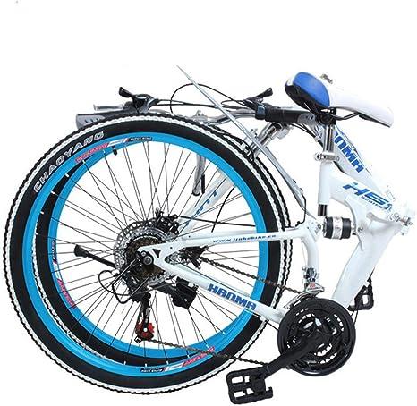Bicicleta de montaña plegable Bicicleta para adultos Ligera Unisex Hombres Bicicleta urbana Ruedas de 27 pulgadas Marco de aluminio Bicicleta de compras para damas con asiento ajustable, frenos de di: Amazon.es: Deportes