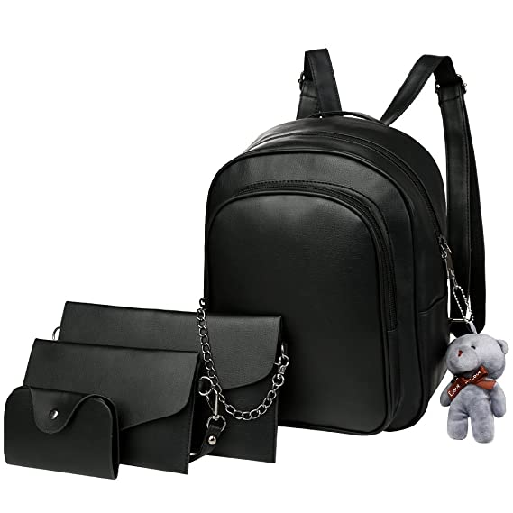 42bc5add0e95 Vbiger 4-in-1 PU Leather Backpack Purse Set Fashion Backpacks with Shoulder  Bag Handbag Card Holder for Women and Girls  Amazon.in  Clothing    Accessories