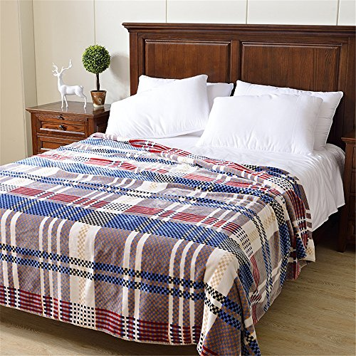 Royal- American Style Double Layer Winter Thickening Flannel Keep Warm Coral Cover Blanket Sheets Double Single Dormitory Blankets ( Size : 200cmx230cm(Double Layer) ) by Blankets