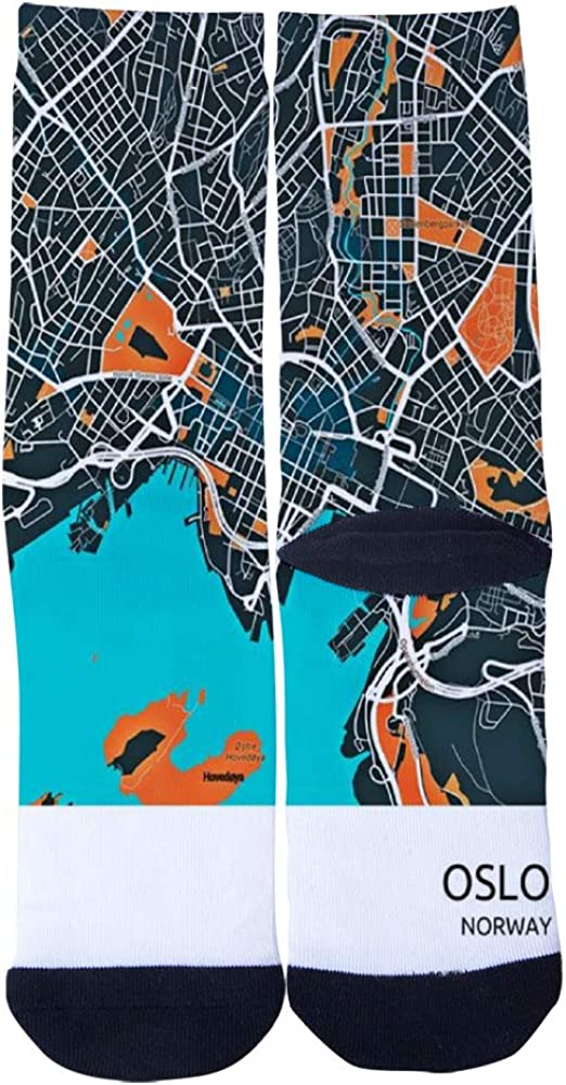 Oslo Norway City Map Metal Poster Socks Mens Womens Casual Socks Custom Creative Crew Socks