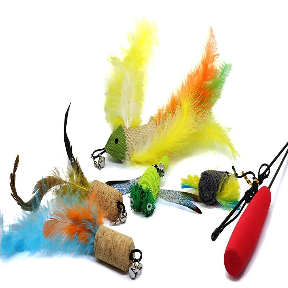 Incluye 10 Recargas Plumas Bird Dragonfly Catcher for Cats Kitten Gato Juguete interactivo juguete con plumas AIDIYA