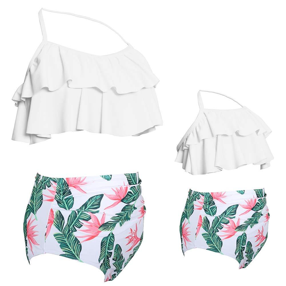 Mommy and Me Swimwear Two Pieces Bikini Set Family Matching Swimsuits Girls Women Flounce Bathing Suit