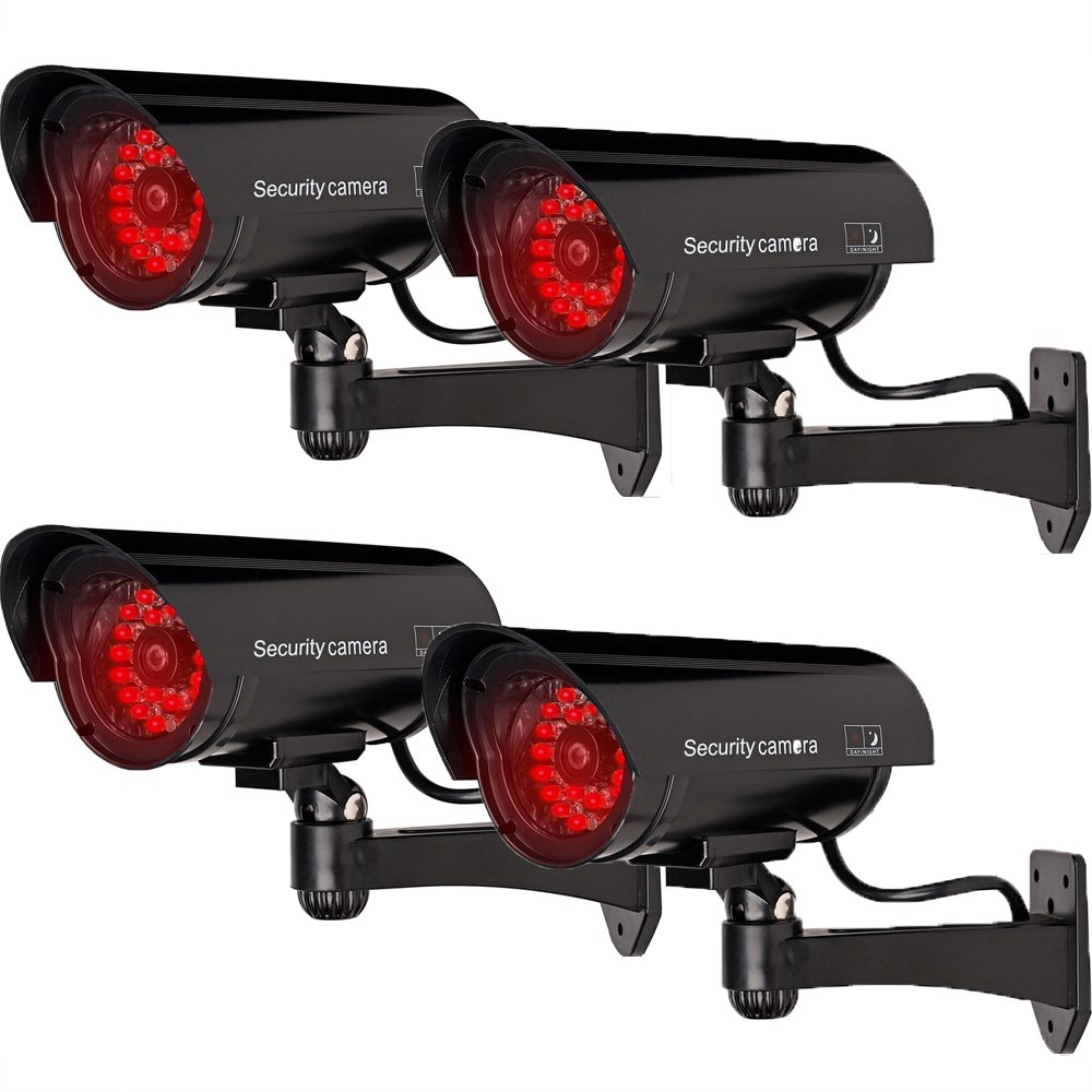 WALI Bullet Dummy Fake Surveillance Security CCTV Dome Camera Indoor Outdoor with 30 Illuminating LED Light and Warning Security Alert Sticker Decals (B30-4), 4 Packs, Black by WALI