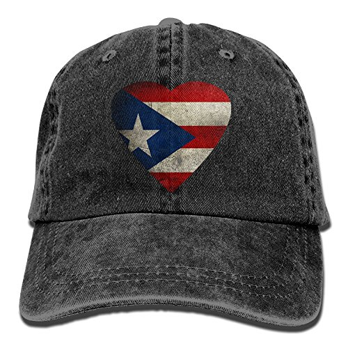 Puerto Rico Heart Flag Puerto Rican Pride & Unisex Adjustable Cotton Denim Hat Washed Retro Gym Hat FS&DMhcap Cap Hat - Puerto Rico Dress