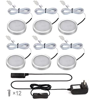 ustellar led under cabinet lighting kit 1020lm puck lights total of 12w dc - Led Cabinet Lighting