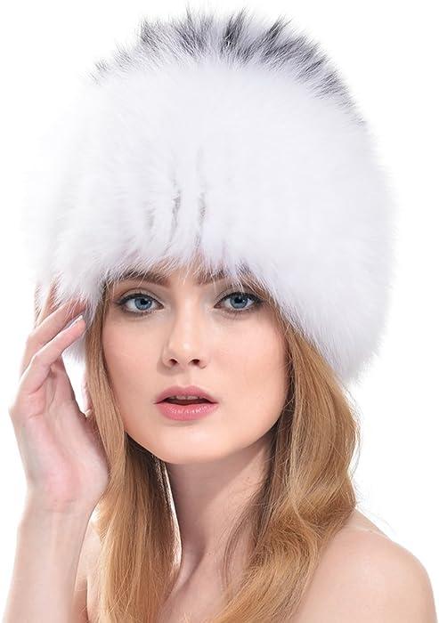 OLLEBOBO Vera Pelliccia Volpe Cappello Donna Stile Russo Cosacco a Righe  Caldo c49ac7681da0