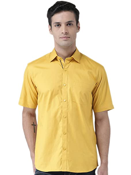 0907093036 Zeal Half Sleeve Mens Shirts Cotton Casual Golden Yellow Regular Fit Plain  or Solid (Size
