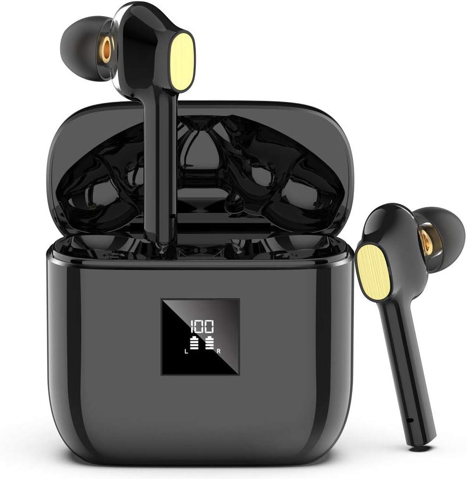 Auriculares Bluetooth, Auriculares Inalámbricos Bluetooth 5.0 con 4 Mic, IPX7 Impermeable Auriculares Inalámbricos Deporte, HI-FI Estéreo in-Ear Sport Auriculares, Pantalla LCD Typo-C Control Táctil