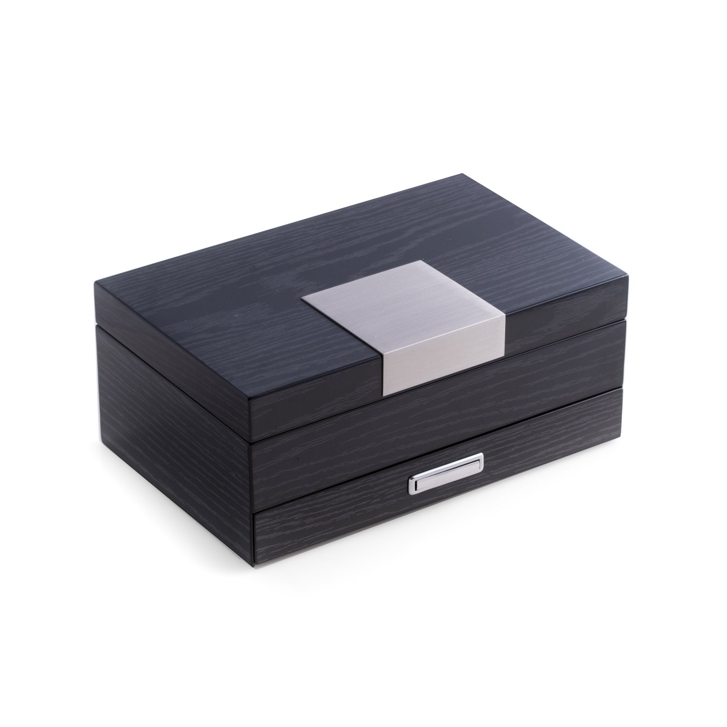 Time Factory AJ-BB671STL ''Steel '' Lacquered 2 Level Jewelry Box, Gray