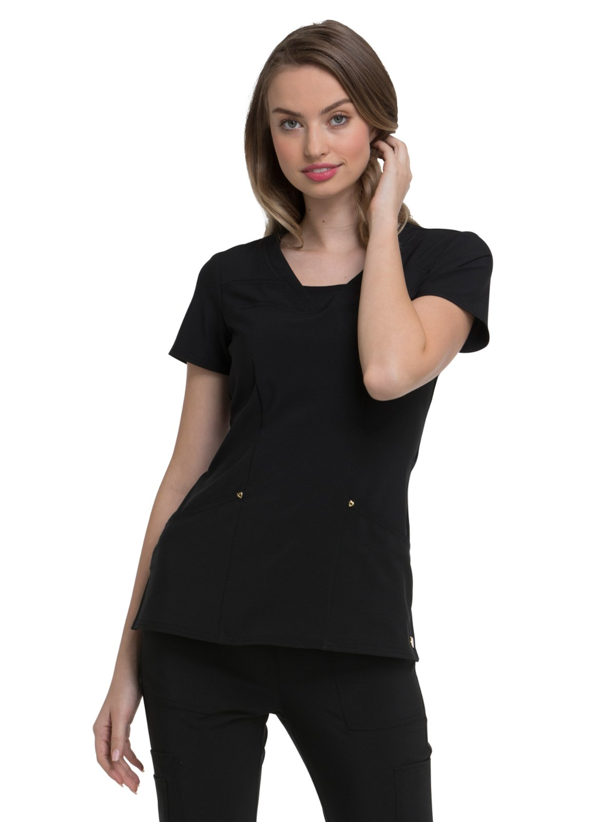 HeartSoul Love Always Women's V-Neck Solid Scrub Top X-Small Black