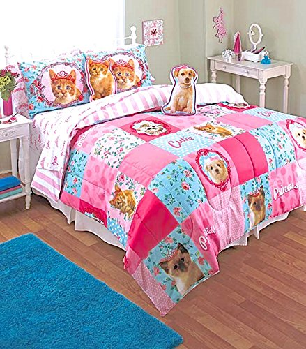 Princess Puppy Kitty 7pc TWIN SIZE Pink Patchwork Comforter,