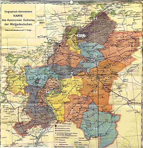 of On the lower reaches of the Volga River, there once existed a separate republic for Russia's Germans. This is a Map of the Volga German ASSR 1920 POSTER PRINT 24 X 36 ()