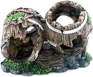 Goldeal Resin Handicraft for Small and Medium Size Aquarium Decoration,Double Wine Barrels Fish Tank Decoration