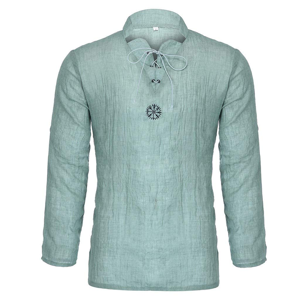 DATEWORK Mens Summer Fashionable Personality Cotton-Linen Pure Longsleeved Top