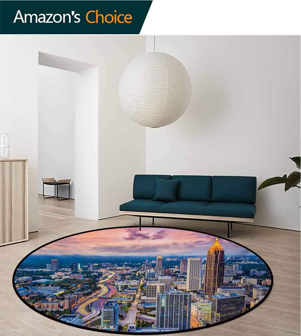 RUGSMAT Modern Small Round Rug Carpet,Atlanta City Skyline at Sunset with Hazy Syk Georgia Town American View Door Mat Indoors Bathroom Mats Non Slip,Diameter-51 Inch Baby Pink Blue Silver