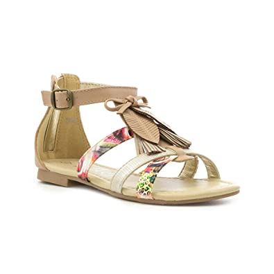 46e625530 Lilley Girls Nude Feather Strappy Flat Sandal - Size 10 Child UK - Pink