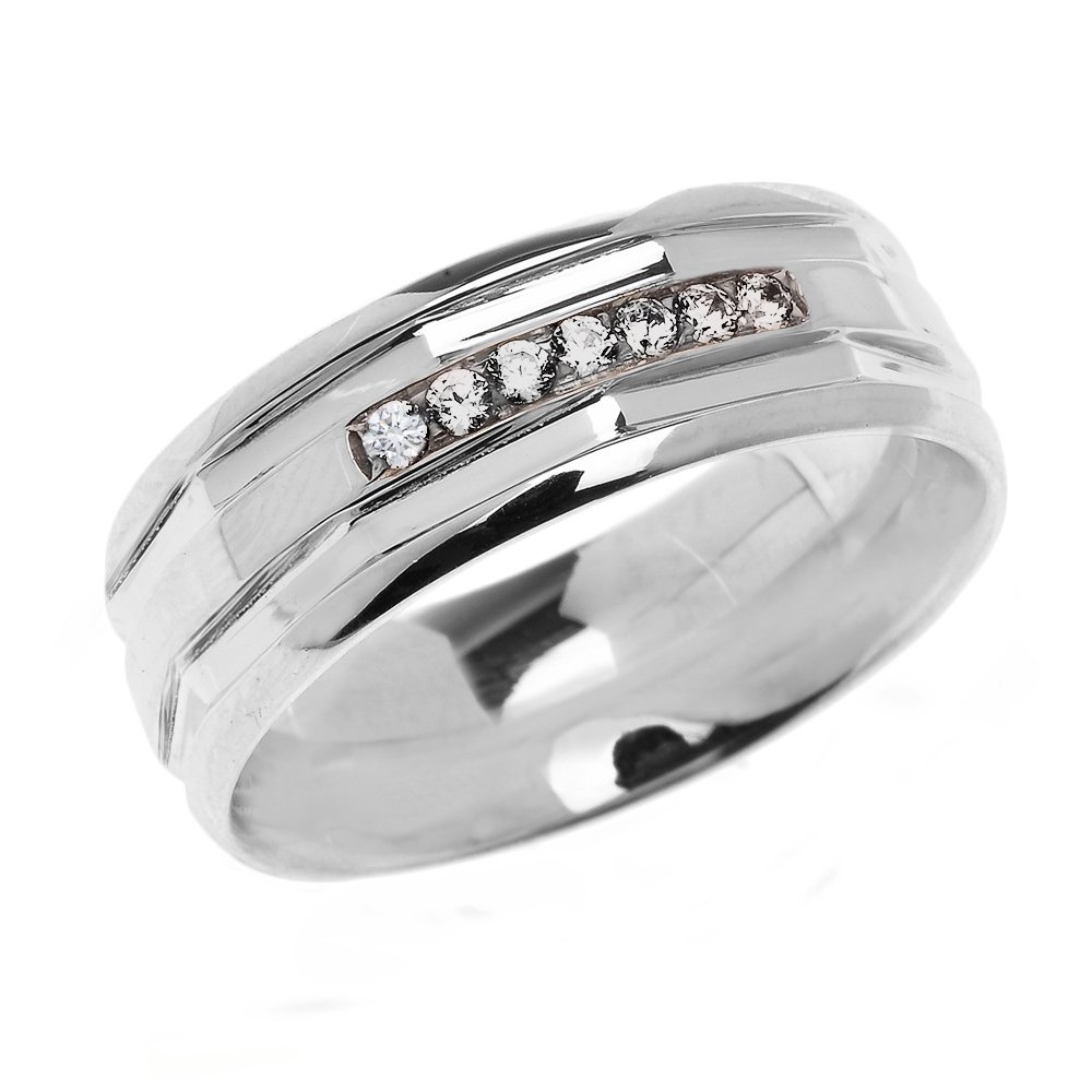 Men's 14k White Gold Comfort Fit Modern Wedding Band with Diamonds (Size 15.5)