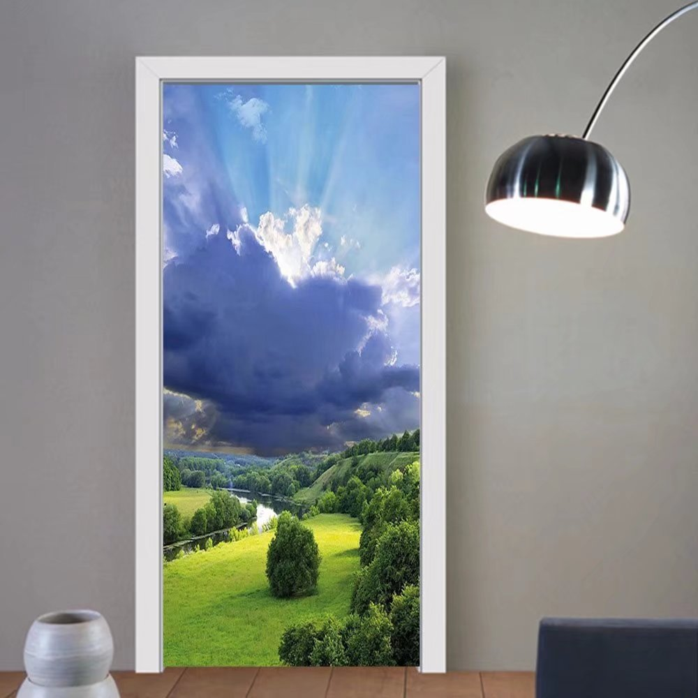Gzhihine custom made 3d door stickers Nature Exquisite View with Fluffy Clouds Sun Rays over Grass Meadow Bush Picture Light Blue Fern Green For Room Decor 30x79
