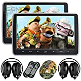 2 x Sonic Audio ® HR-10C - Universal 10.1'' Tablet-Style Clip-On Headrest DVD Player/Screen with USB/SD/HDMI and 2 x Wireless Infrared Headphones - Plug-and-Play Rear-Seat Entertainment System