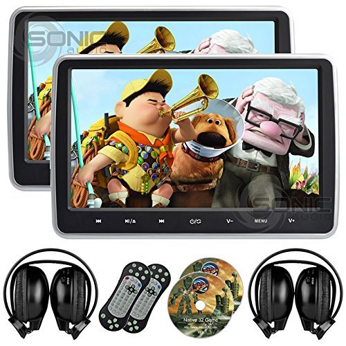 2 x Sonic Audio ® HR-10C - Universal 10.1'' Tablet-Style Clip-On Headrest DVD Player/Screen with USB/SD/HDMI and 2 x Wireless Infrared Headphones - Plug-and-Play Rear-Seat Entertainment System by Sonic Audio