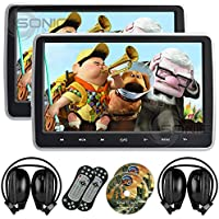 2 x Sonic Audio ® HR-10C - Universal 10.1 Tablet-Style Clip-On Headrest DVD Player/Screen with USB/SD/HDMI and 2 x Wireless Infrared Headphones - Plug-and-Play Rear-Seat Entertainment System