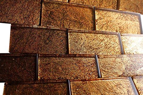 2x4 Glossy Glitter Bronze Sky Subway Glass Mosaic Tiles for Bathroom and Kitchen Walls Kitchen Backsplashes