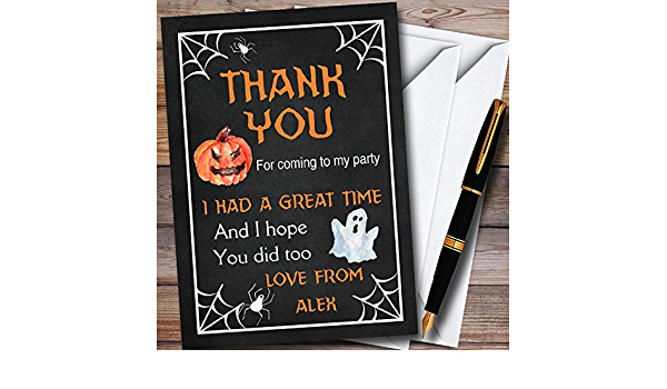 Eat Drink Pumpkin Personalized Halloween Party Thank You Cards