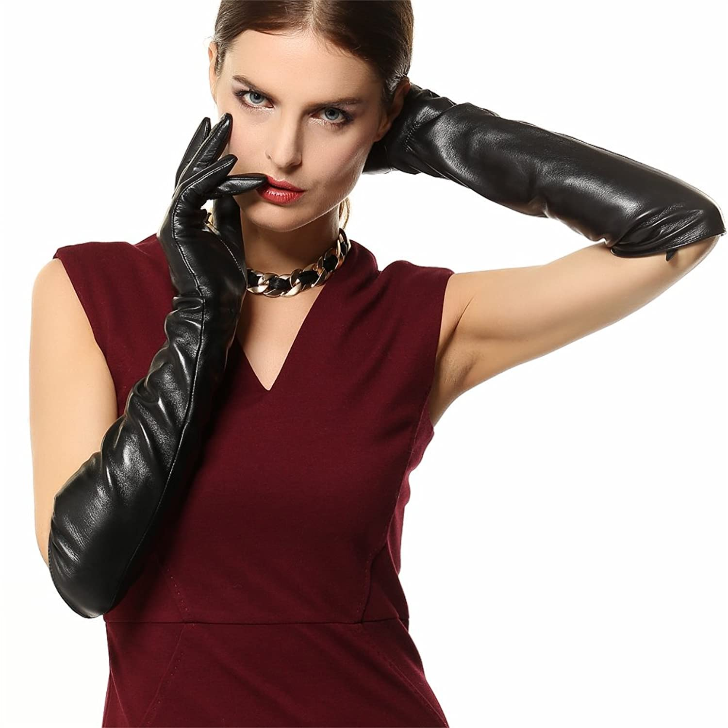 Best womens leather gloves - Warmen Ladies Opera Long Genuine Soft Nappa Leather Gloves Black 6 5 Black Touchscreen Function At Amazon Women S Clothing Store