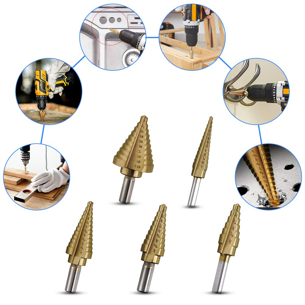 High Speed Steel Step Drill Kit Total 50 Sizes Vastar Step Drill Bit Set 6 Pieces Titanium Step Drill Set with Automatic Center Punch in A Canvas Bag