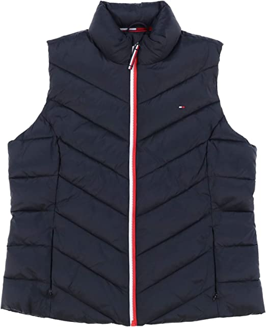 Tommy Hilfiger Womens Puffer Vest Zip Up Sleeveless Down Jacket Flag Logo New