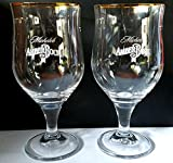Michelob Amber Bock Gold Rim 16oz Set of 2 Glasses