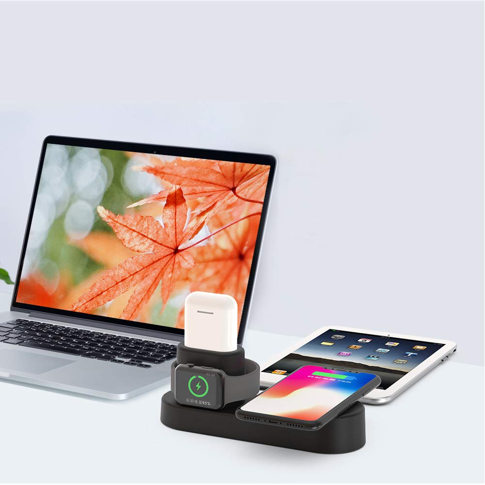 FACEVER 36W 3 in 1 Wireless Charger Station with USB Output, Fast Qi Wireless Charger Compatible with Apple Watch iWatch Airpods iPhone Xs MAX XR X 8 Plus, Samsung S9 S8+, Qi-Enabled Devices -Black by FACEVER (Image #5)
