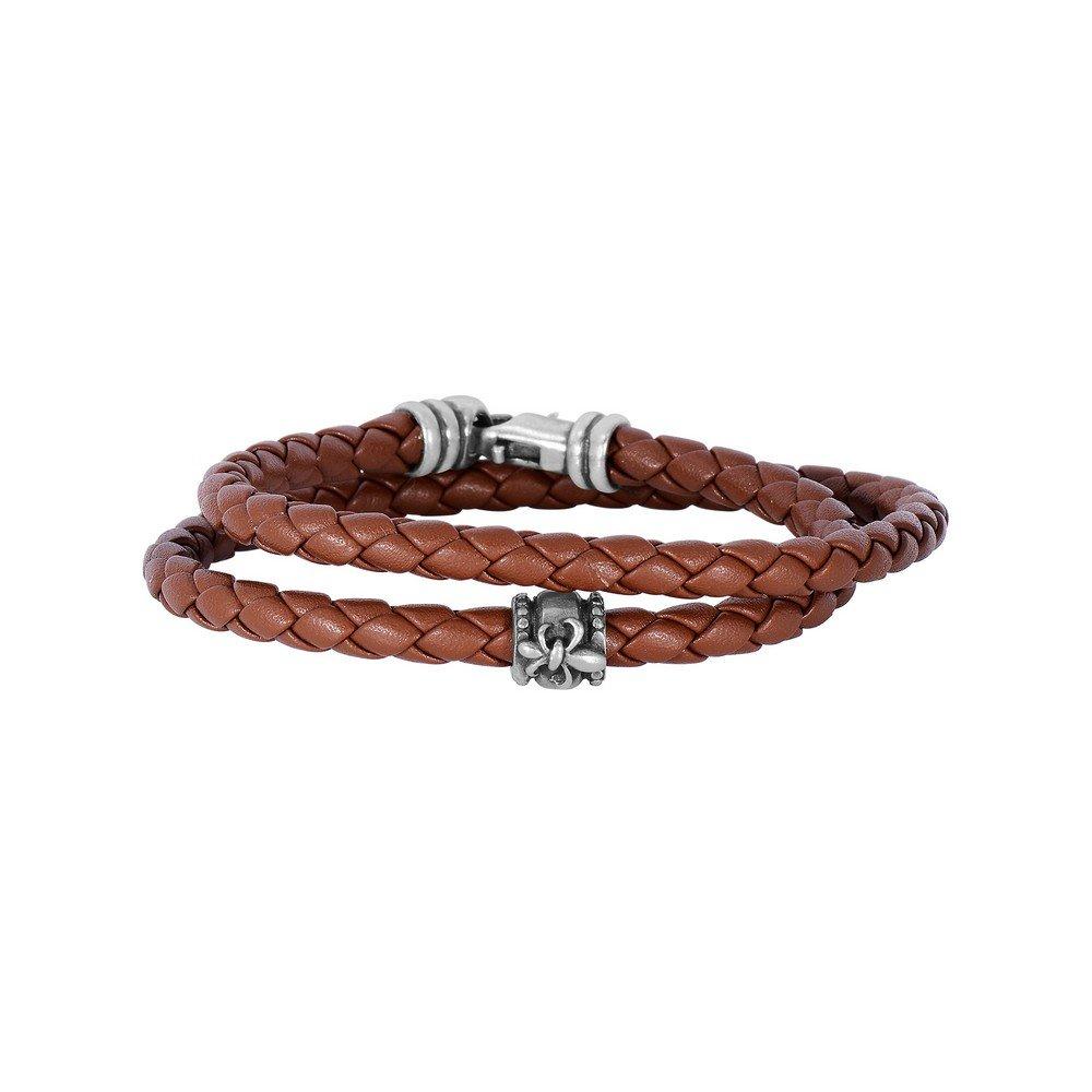 Tan Leather 4mm Braided Round Wrap Around Bracelet Oxidized Ss Clasp Fleur De Lis Symbol - 8 Inch