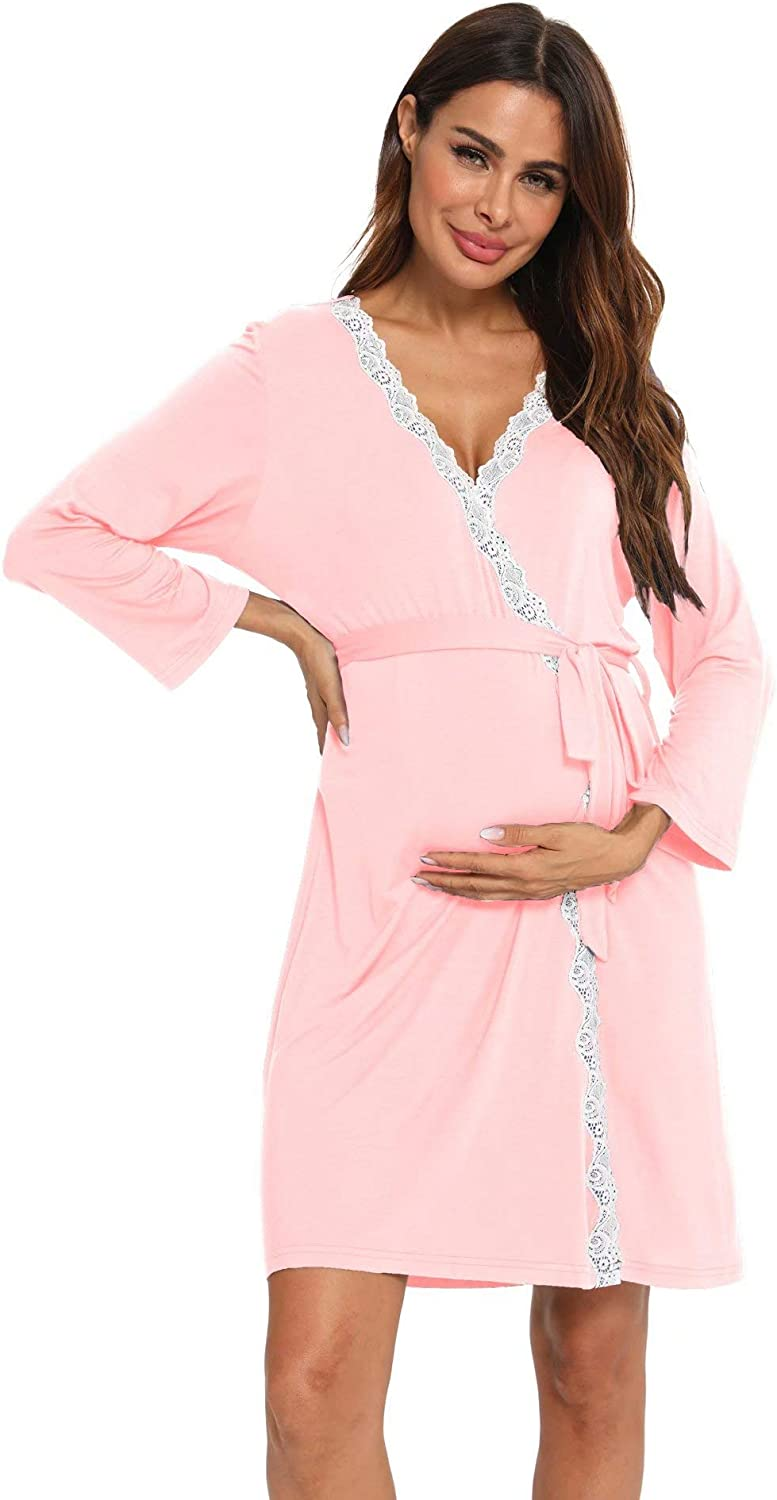 Sexqero Women's Robe Maternity Sleepwear Labor Delivery Nursing Nightgown Pregnancy Gown at  Women's Clothing store